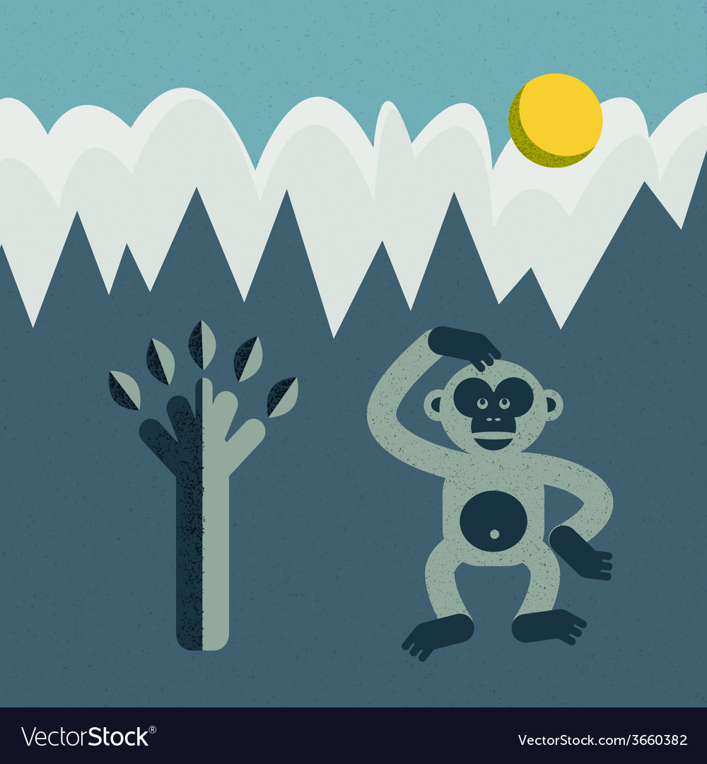 Monkey and tree vector | Price: 1 Credit (USD $1)