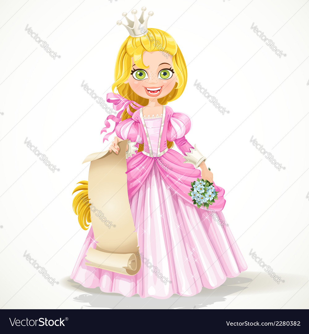 Princess holding a blank sheet of parchment vector | Price: 3 Credit (USD $3)