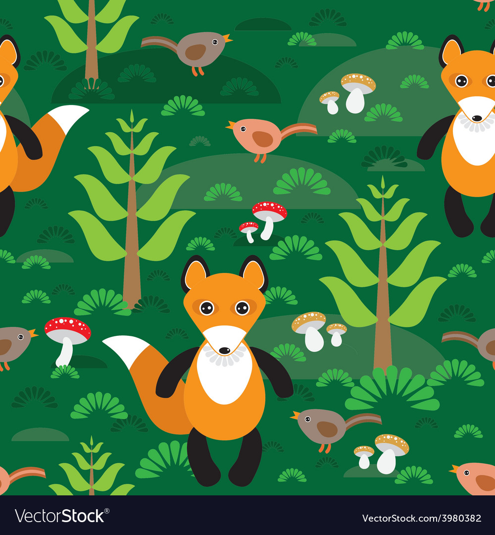 Seamless pattern fox and forest tree mushrooms vector | Price: 1 Credit (USD $1)