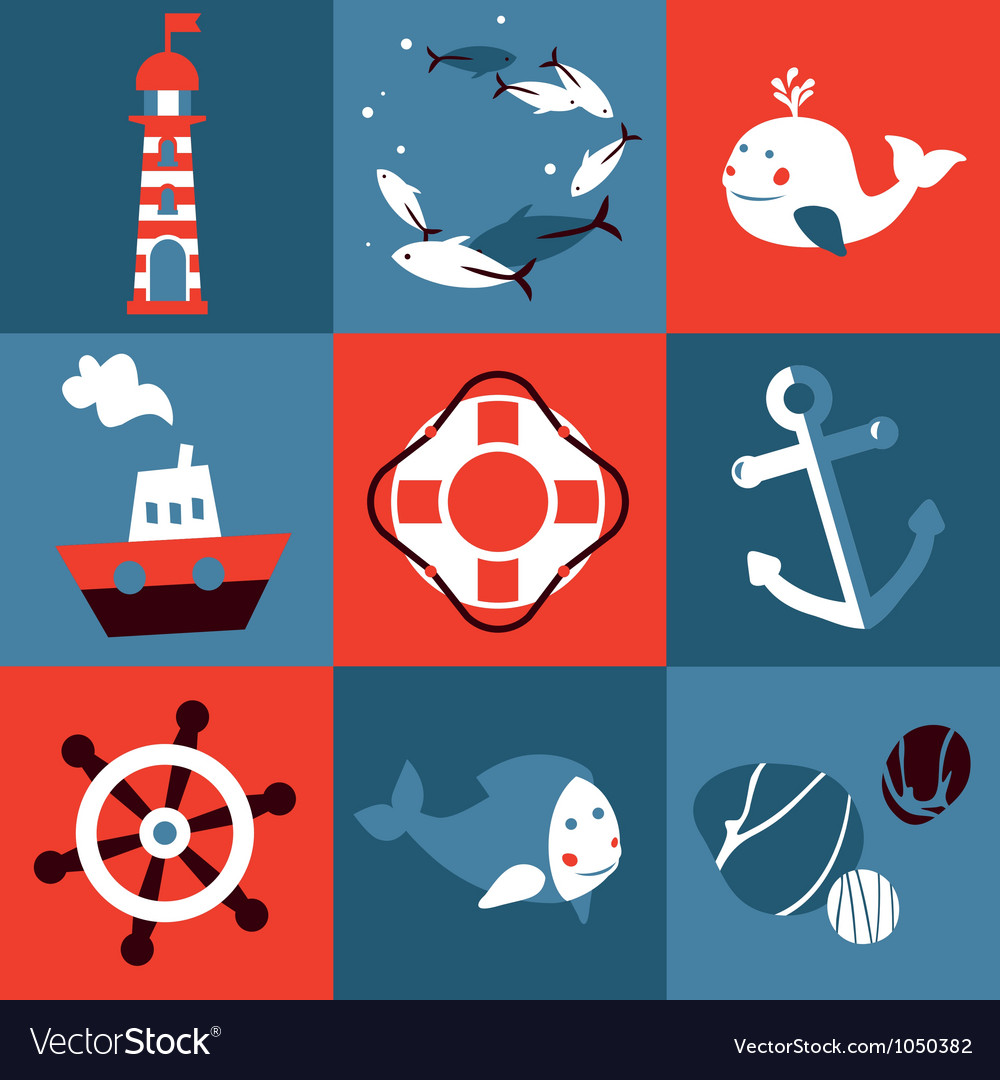 Set with nautical design elements vector | Price: 1 Credit (USD $1)