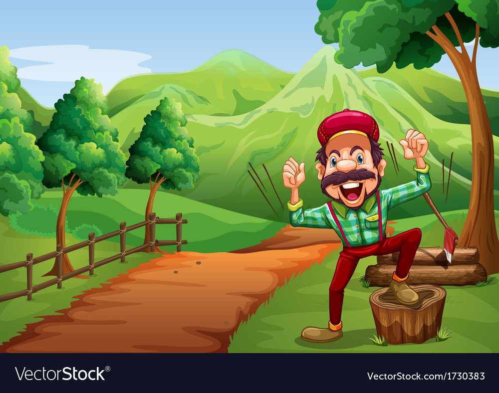 A cheerful woodman near the pathway going to the vector | Price: 3 Credit (USD $3)