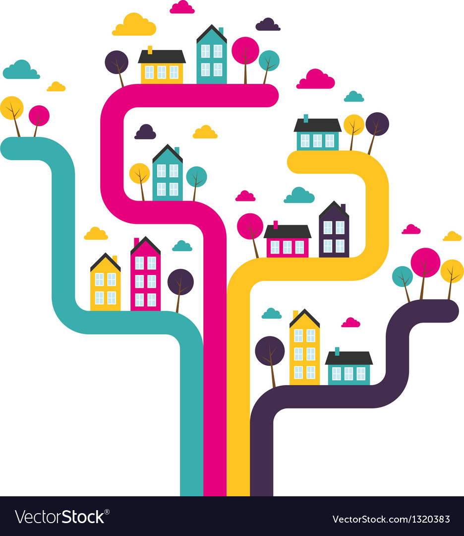 Background with abstract town vector   Price: 1 Credit (USD $1)