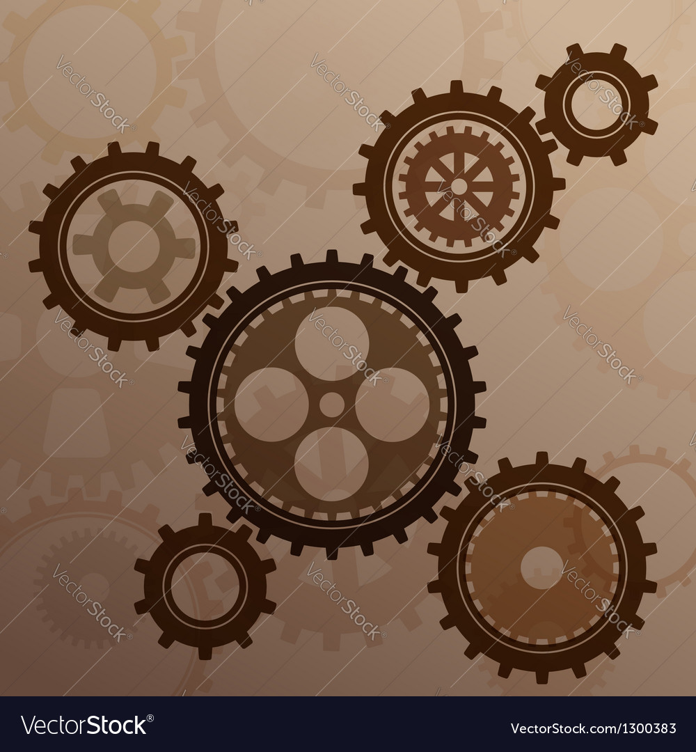 Connected gear cogs metal silhouette vector | Price: 1 Credit (USD $1)