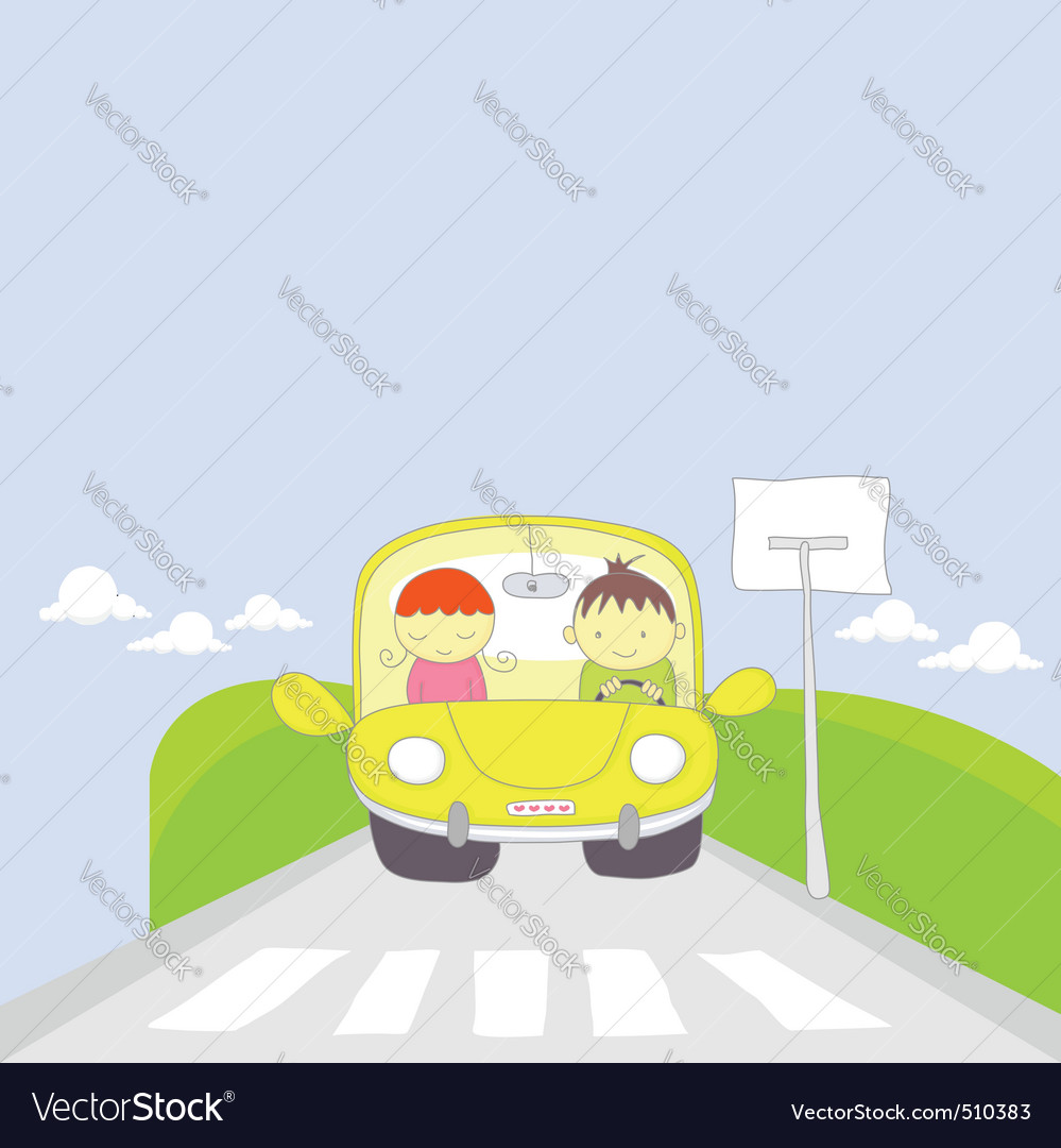 Cute cartoon couple traveling by car vector | Price: 1 Credit (USD $1)