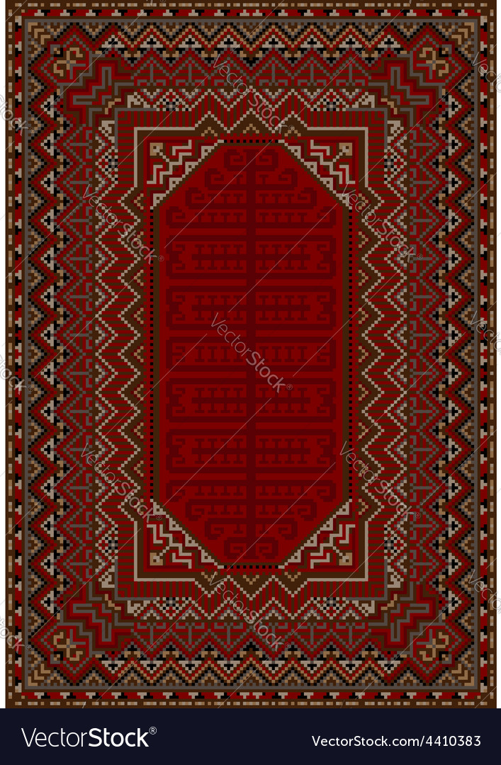 The design of the old carpet in red tones vector | Price: 1 Credit (USD $1)