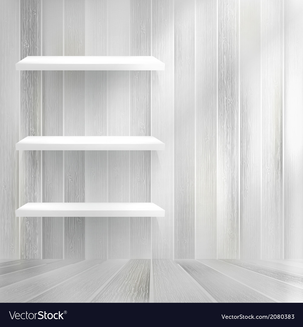 Empty wood shelf on old wall  eps10 vector | Price: 1 Credit (USD $1)