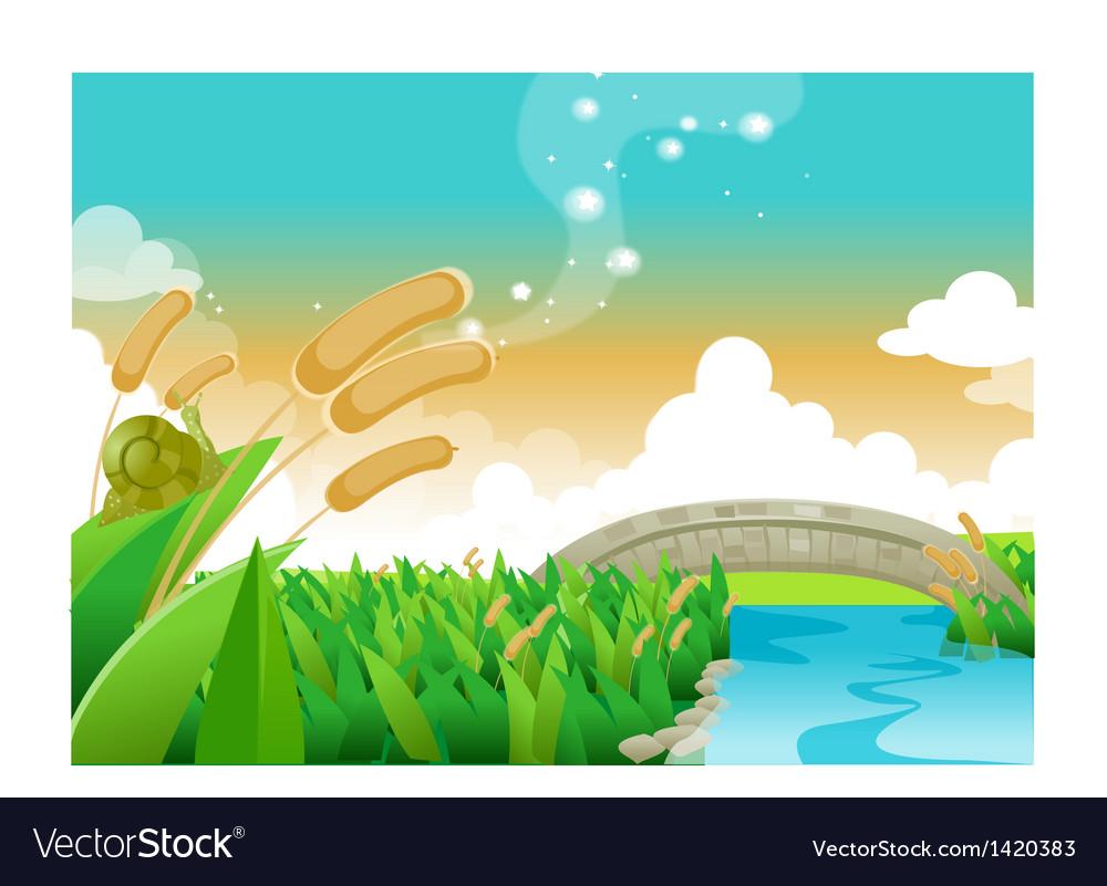 Foot bridge over river vector | Price: 1 Credit (USD $1)