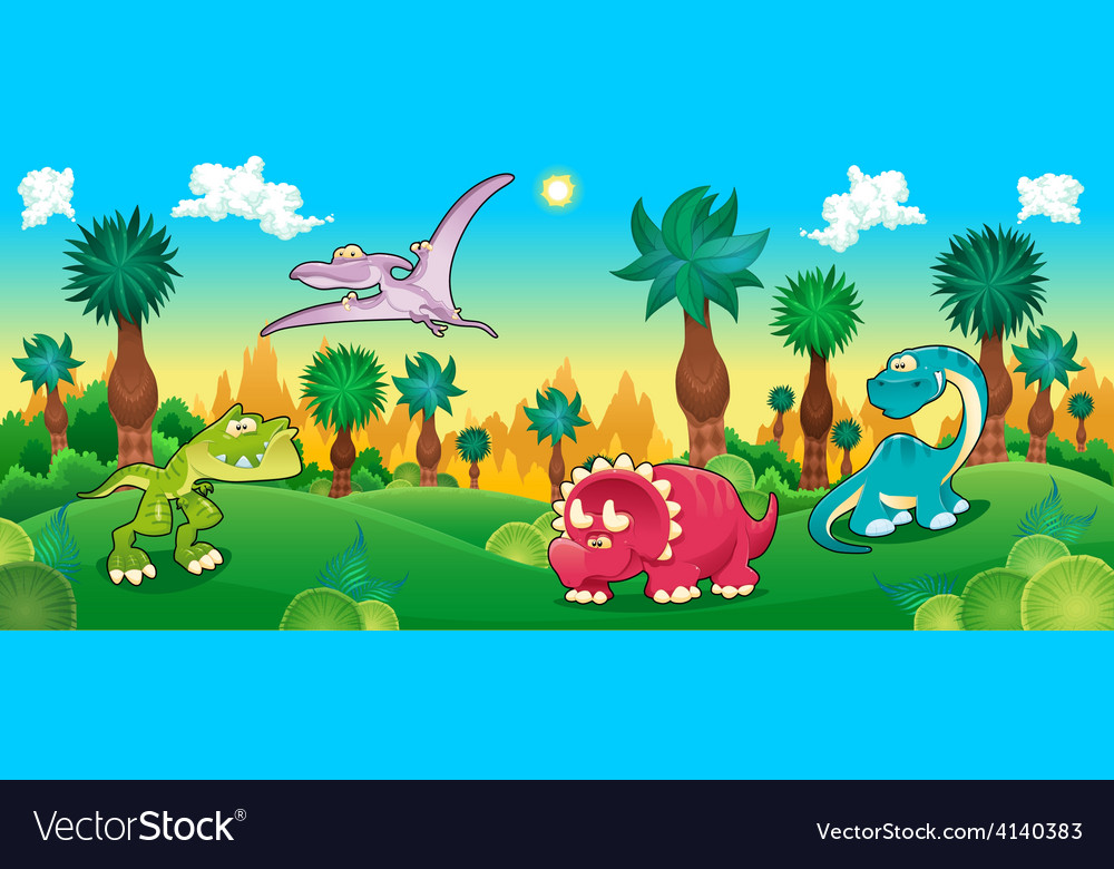 Green forest with dinosaurs vector | Price: 3 Credit (USD $3)