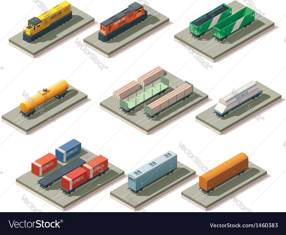 Isometric trains and cars vector | Price: 1 Credit (USD $1)