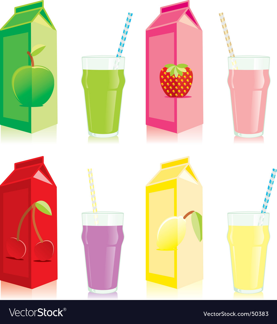 Juice carton box and glass vector | Price: 1 Credit (USD $1)