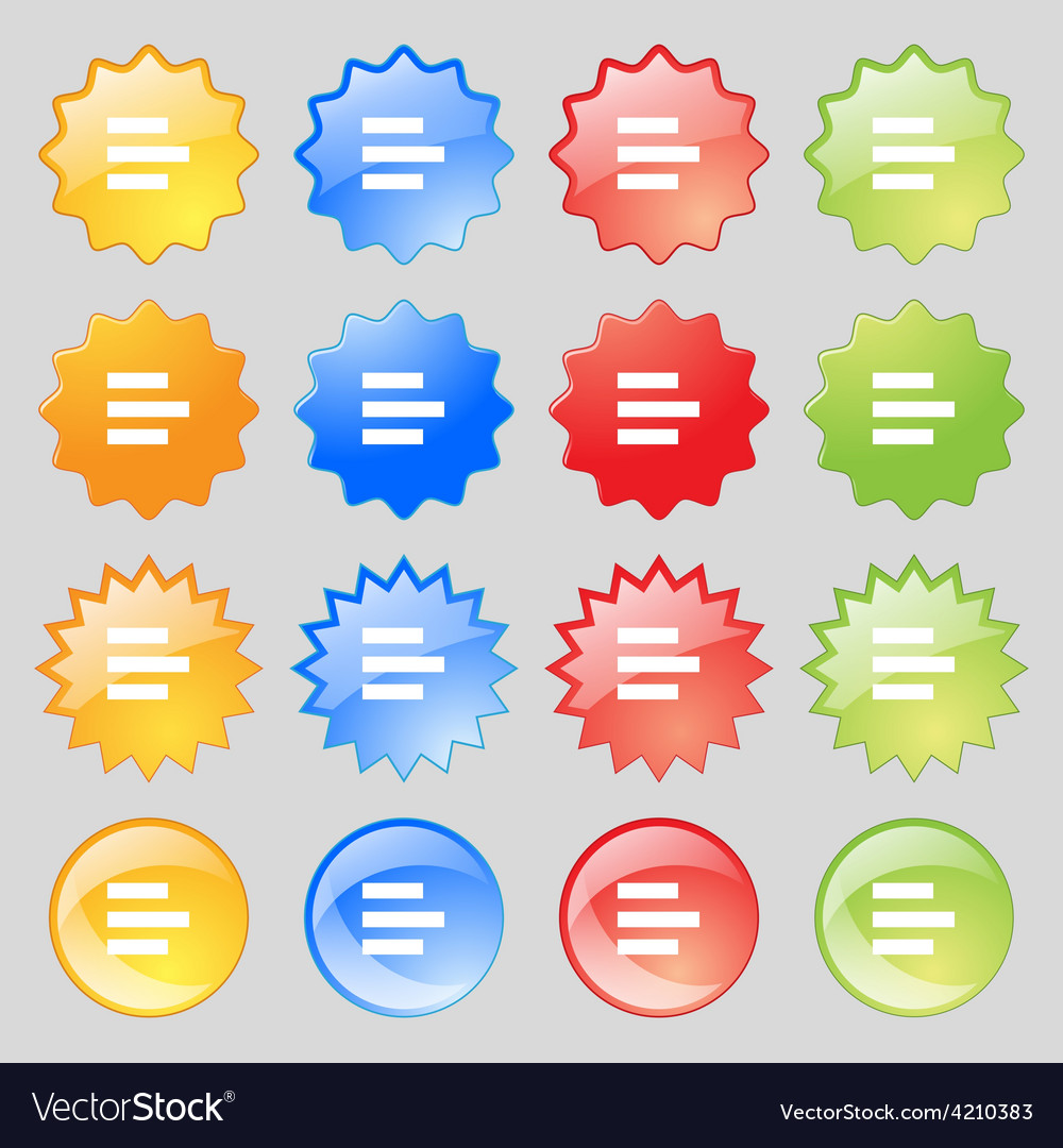 Left-aligned icon sign big set of 16 colorful vector | Price: 1 Credit (USD $1)