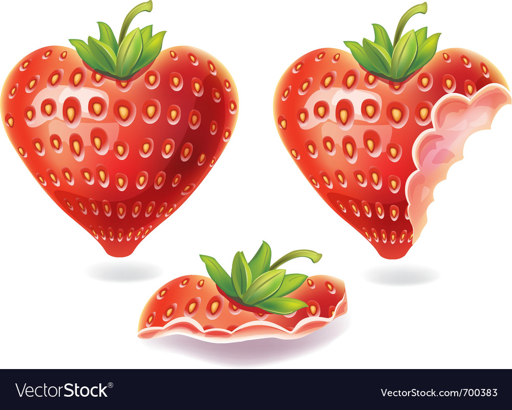 Nibbled strawberry vector | Price: 1 Credit (USD $1)