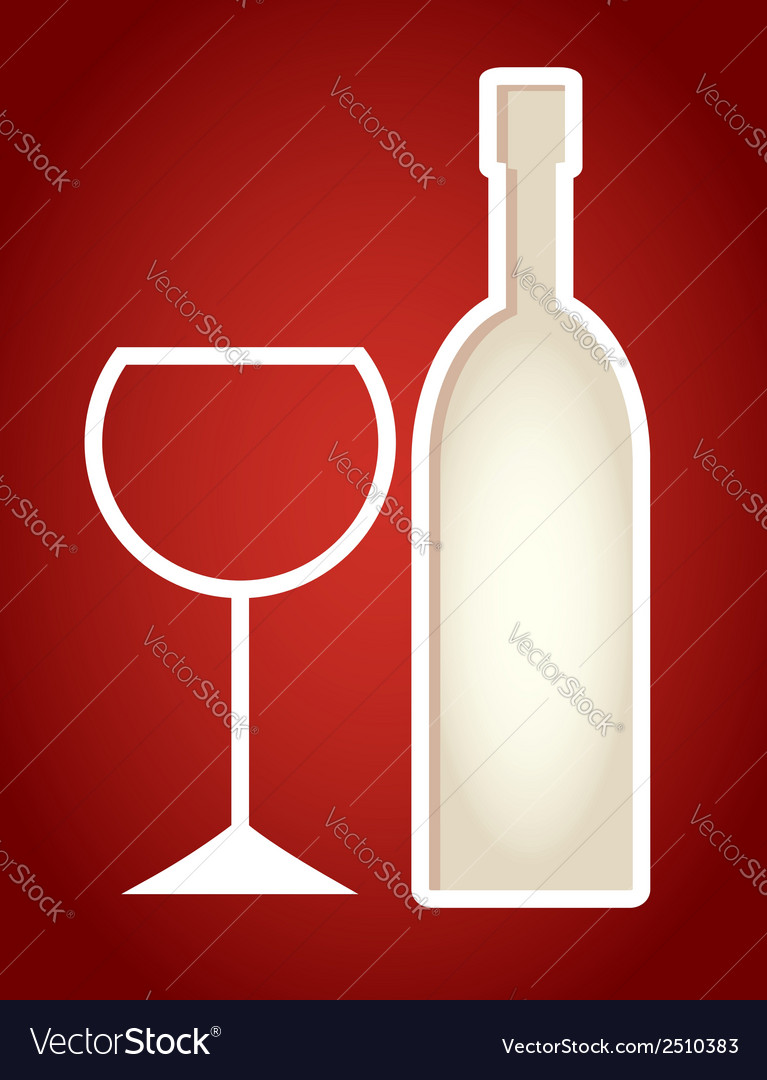 Paper cut frame stylized as wine bottle vector | Price: 1 Credit (USD $1)