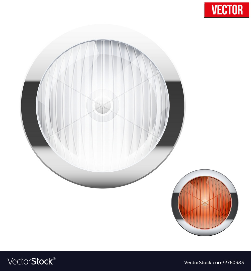 Round car headlight and turn indicator vintage vector | Price: 1 Credit (USD $1)