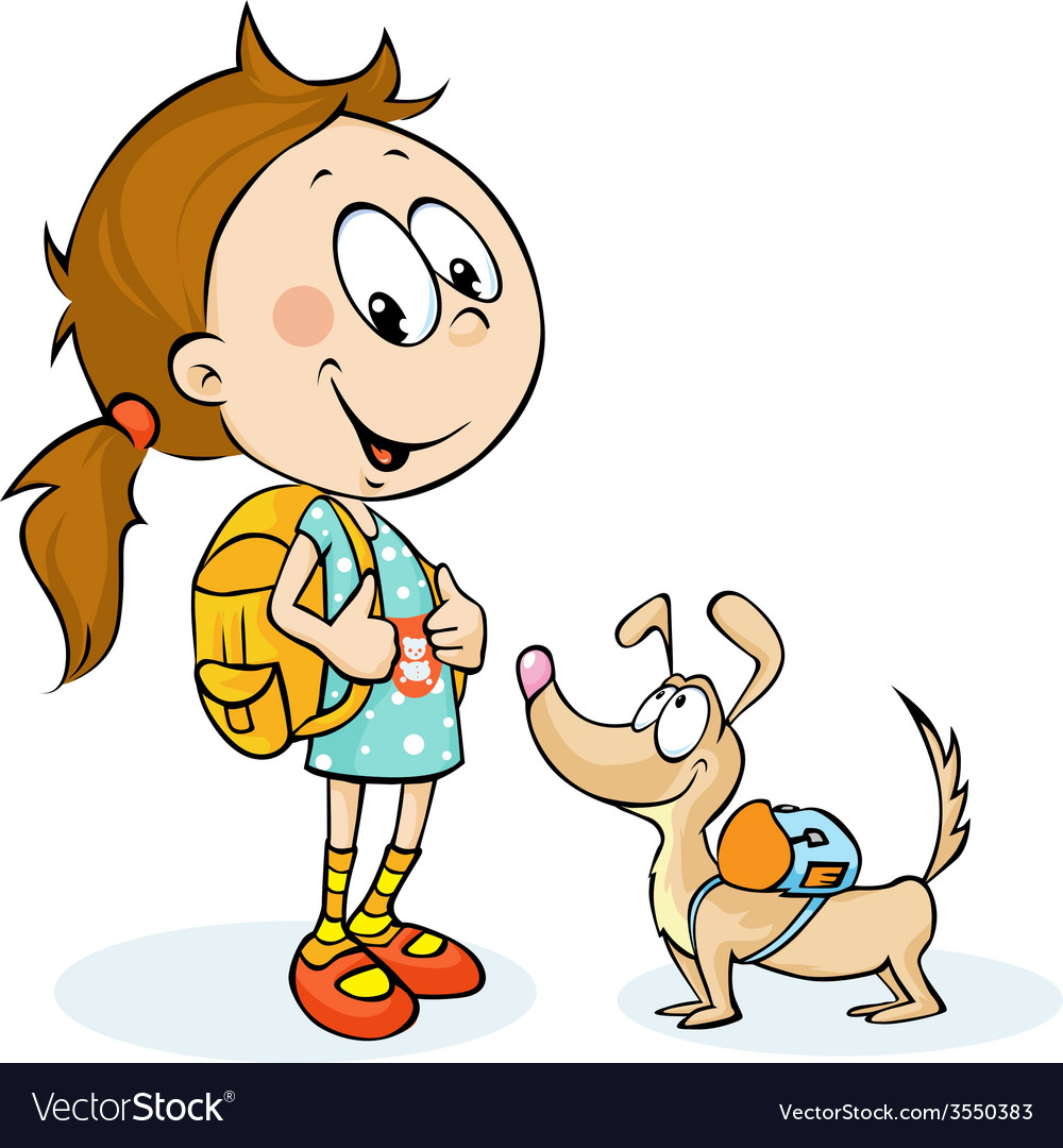 School girl and dog with schoolbag - vector | Price: 1 Credit (USD $1)
