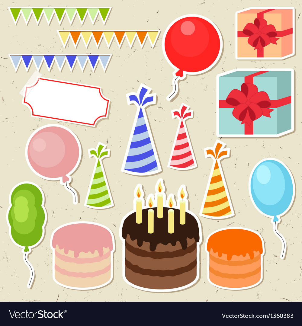 Set of birthday party elements for scrapbooking vector | Price: 1 Credit (USD $1)