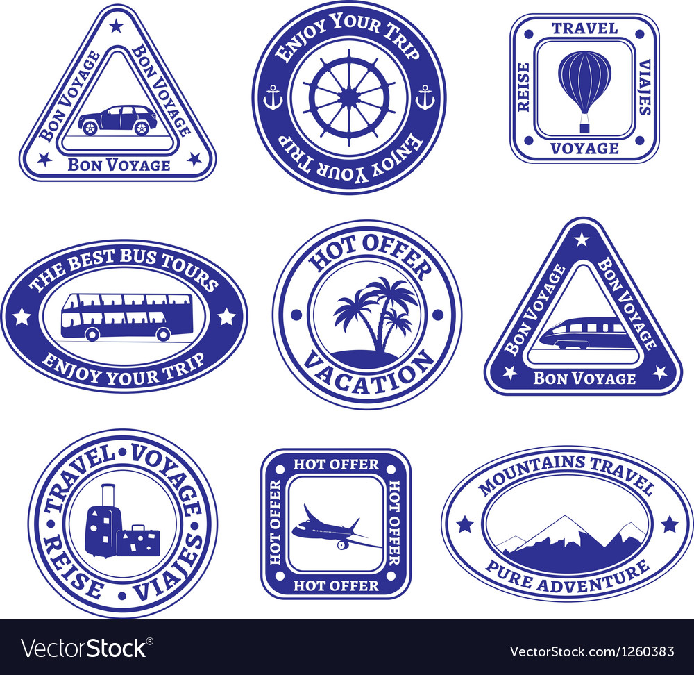 Set of travel and tourism stamps and badges vector | Price: 1 Credit (USD $1)