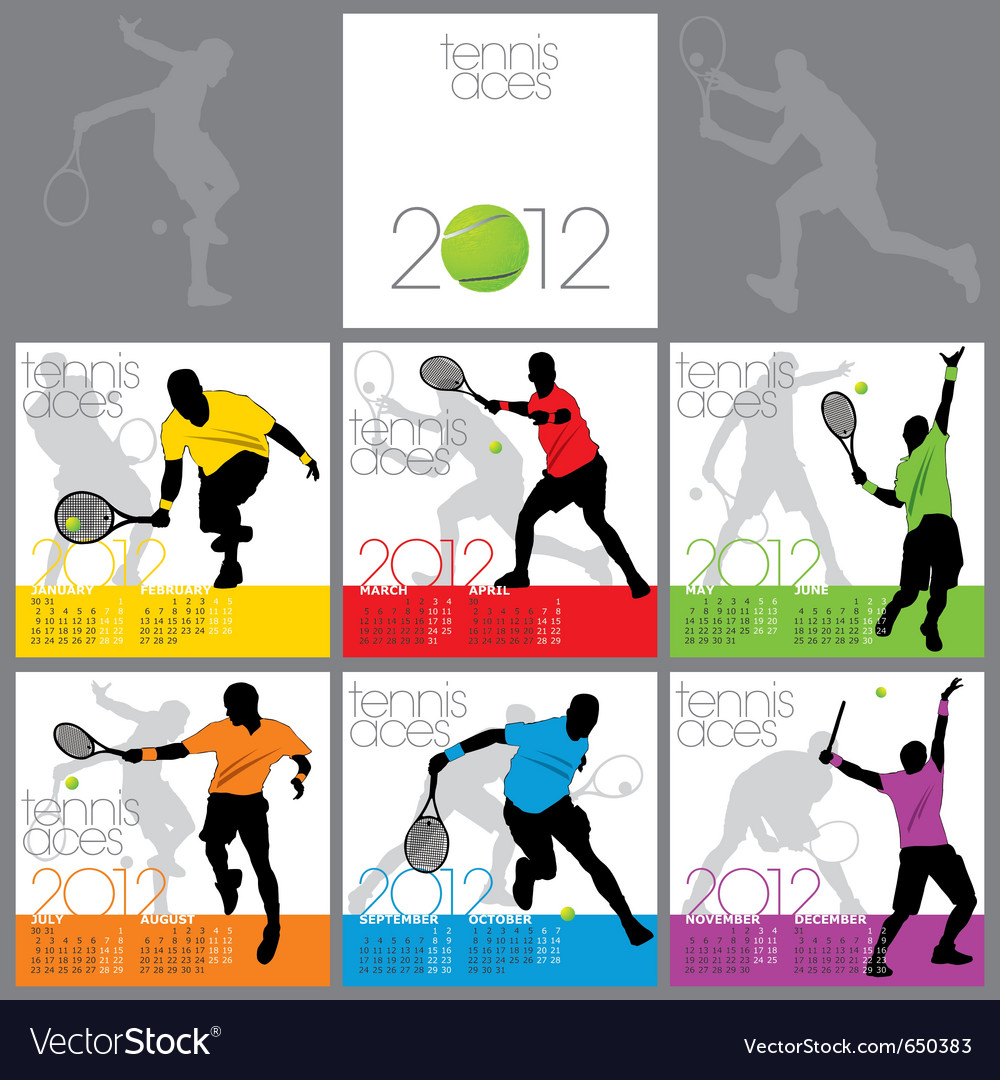Tennis aces 2012 calendar template vector | Price: 1 Credit (USD $1)