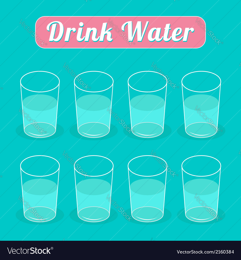Drink eight glasses of water infographic flat desi vector | Price: 1 Credit (USD $1)