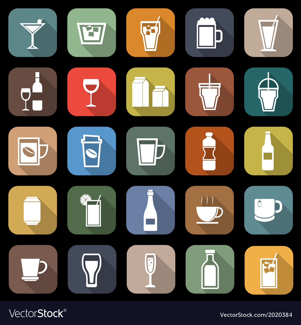 Drink flat icons with long shadow vector | Price: 1 Credit (USD $1)
