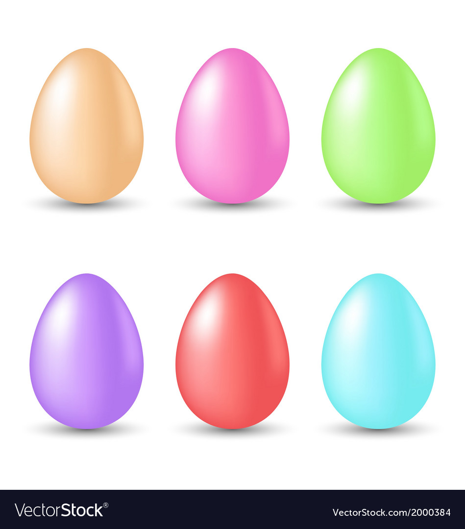 Easter set painted eggs isolated on white vector | Price: 1 Credit (USD $1)