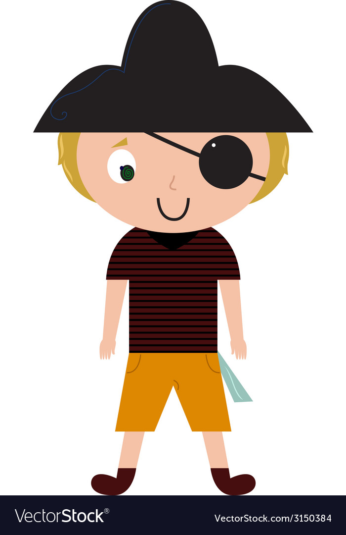 Fun halloween pirate isolated on white vector | Price: 1 Credit (USD $1)