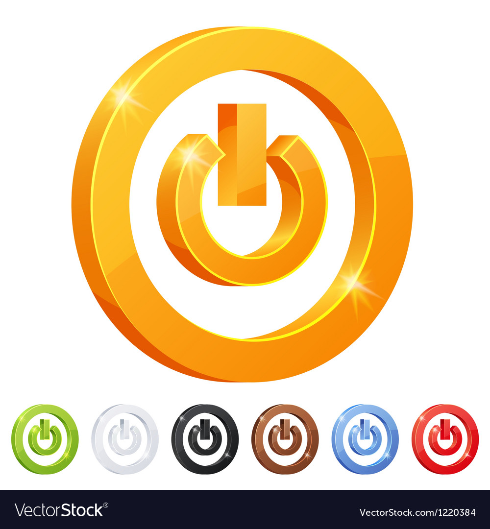 Set of 7 power button symbol vector | Price: 1 Credit (USD $1)