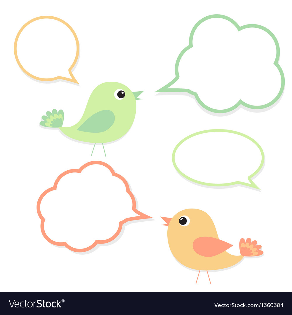 Set of birds with speech bubbles vector | Price: 1 Credit (USD $1)