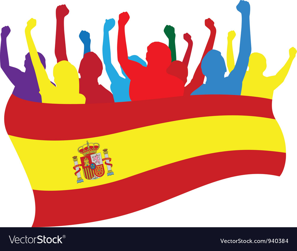 Spain fans vector | Price: 1 Credit (USD $1)