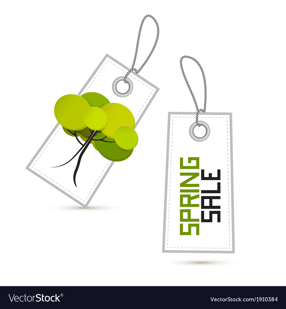 Spring sale white labels with tree isolated on vector | Price: 1 Credit (USD $1)