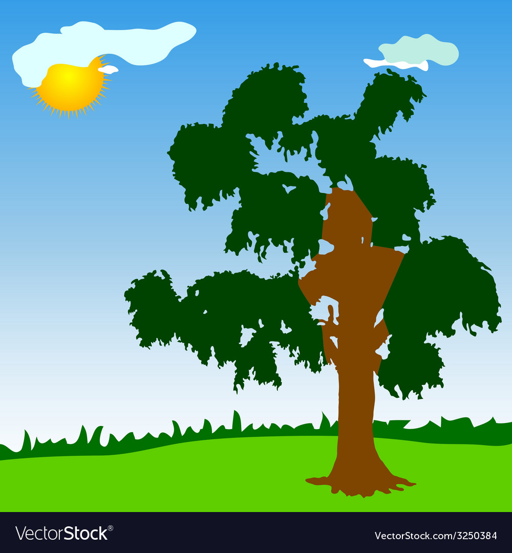Tree with green leave vector | Price: 1 Credit (USD $1)