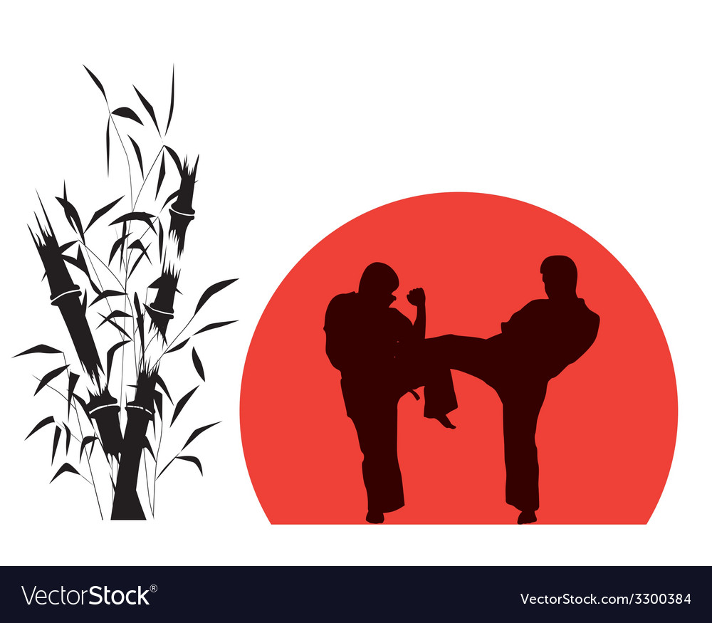 Two men engaged in karate over red background vector | Price: 1 Credit (USD $1)