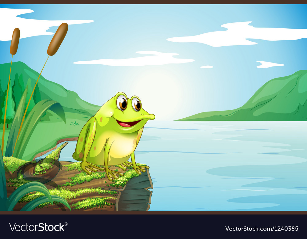 A trunk at the river with a frog vector | Price: 1 Credit (USD $1)