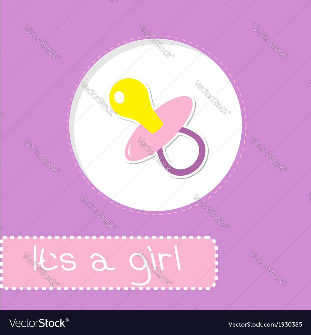 Baby girl pacifier shower card vector | Price: 1 Credit (USD $1)