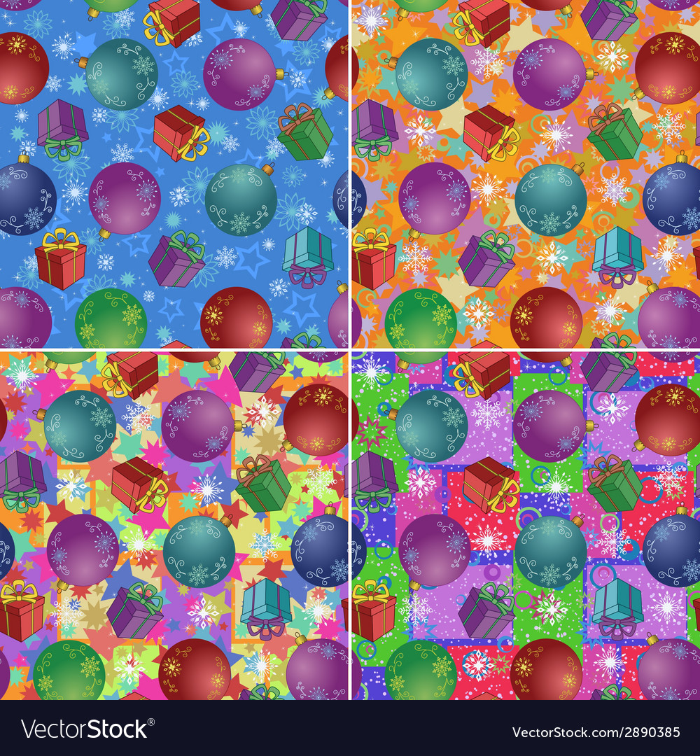 Christmas backgrounds with gifts and balls vector | Price: 1 Credit (USD $1)
