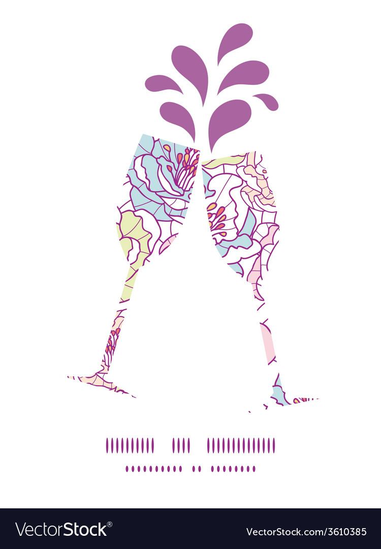Colorful line art flowers toasting wine glasses vector | Price: 1 Credit (USD $1)