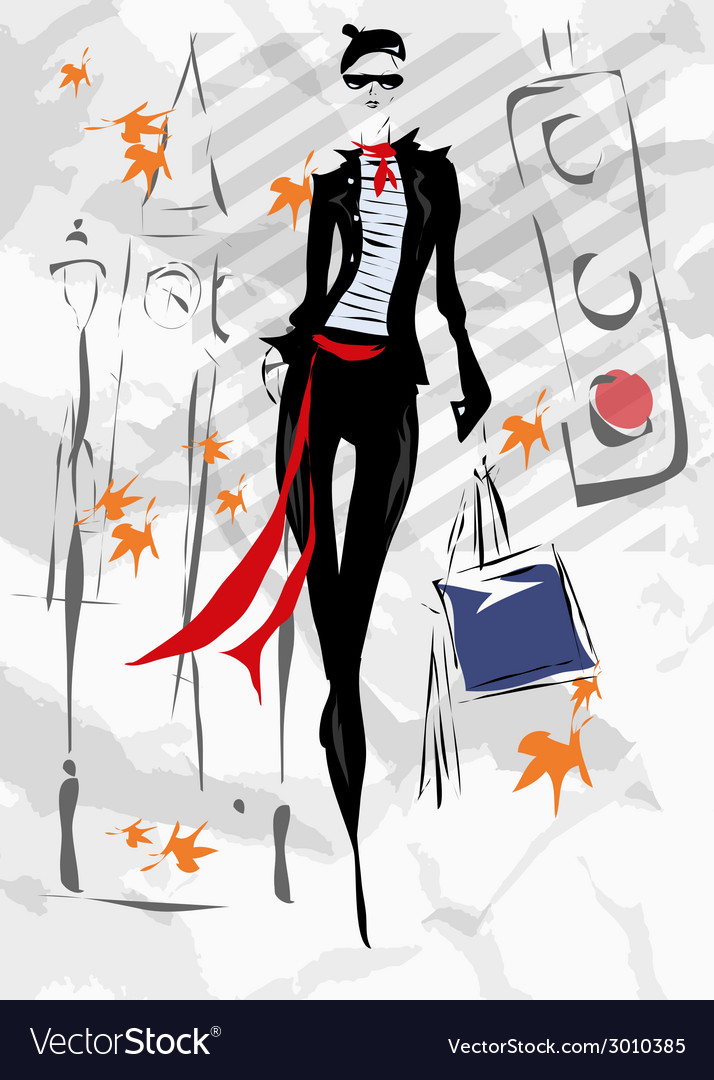 The fashionable woman goes down the street fall vector   Price: 1 Credit (USD $1)