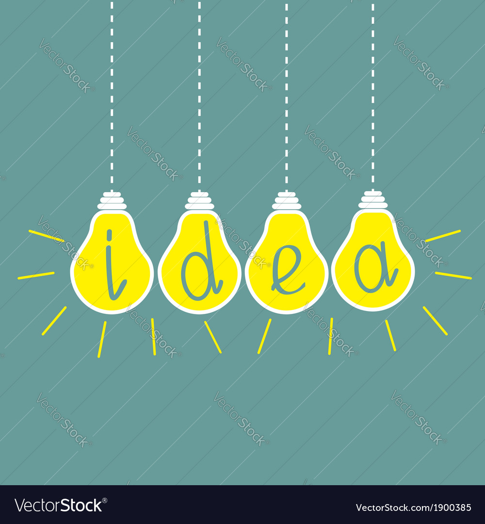 Four hanging yellow light bulbs idea concept vector | Price: 1 Credit (USD $1)