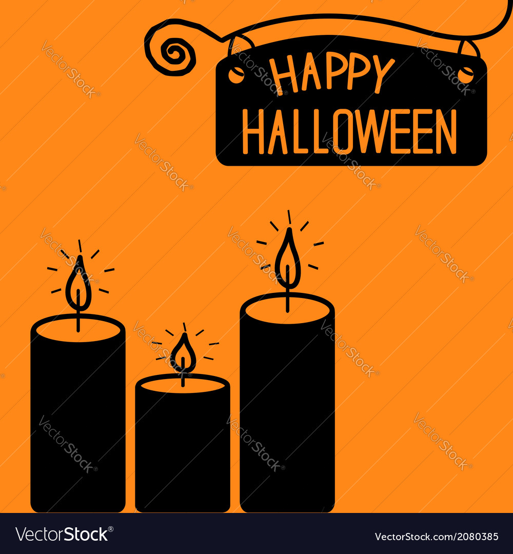 Happy halloween candle card vector | Price: 1 Credit (USD $1)