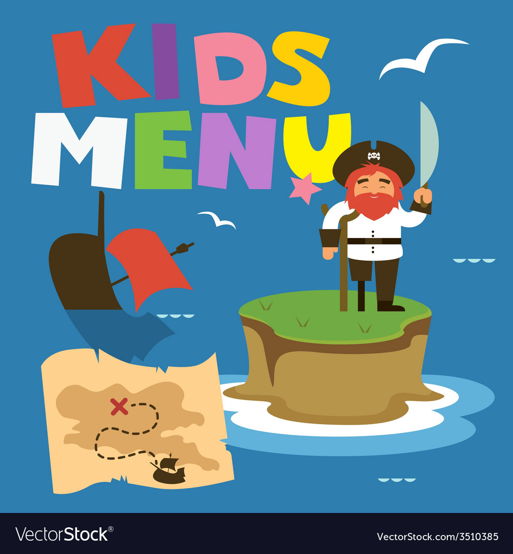 Kids menu treasure island vector | Price: 1 Credit (USD $1)
