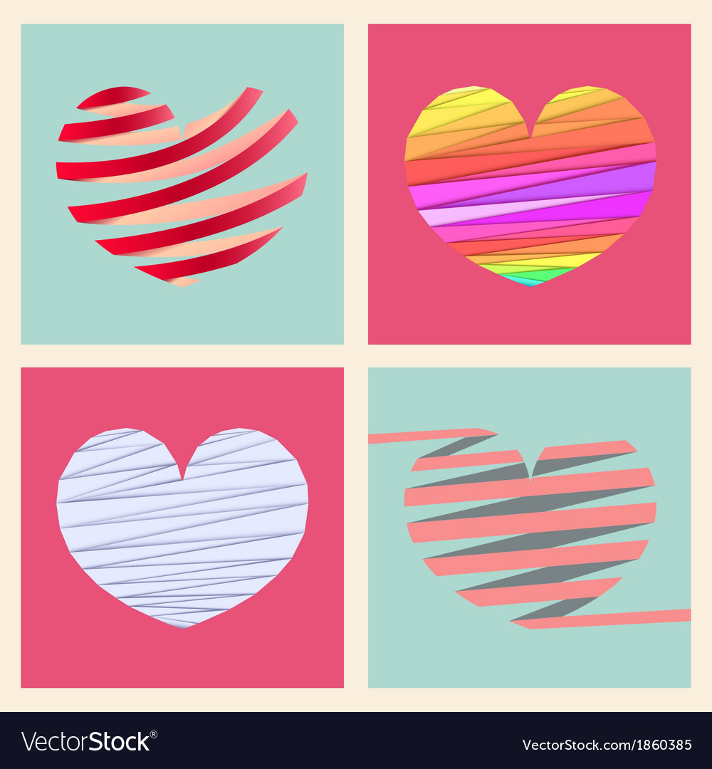 Set four heart style vector | Price: 1 Credit (USD $1)