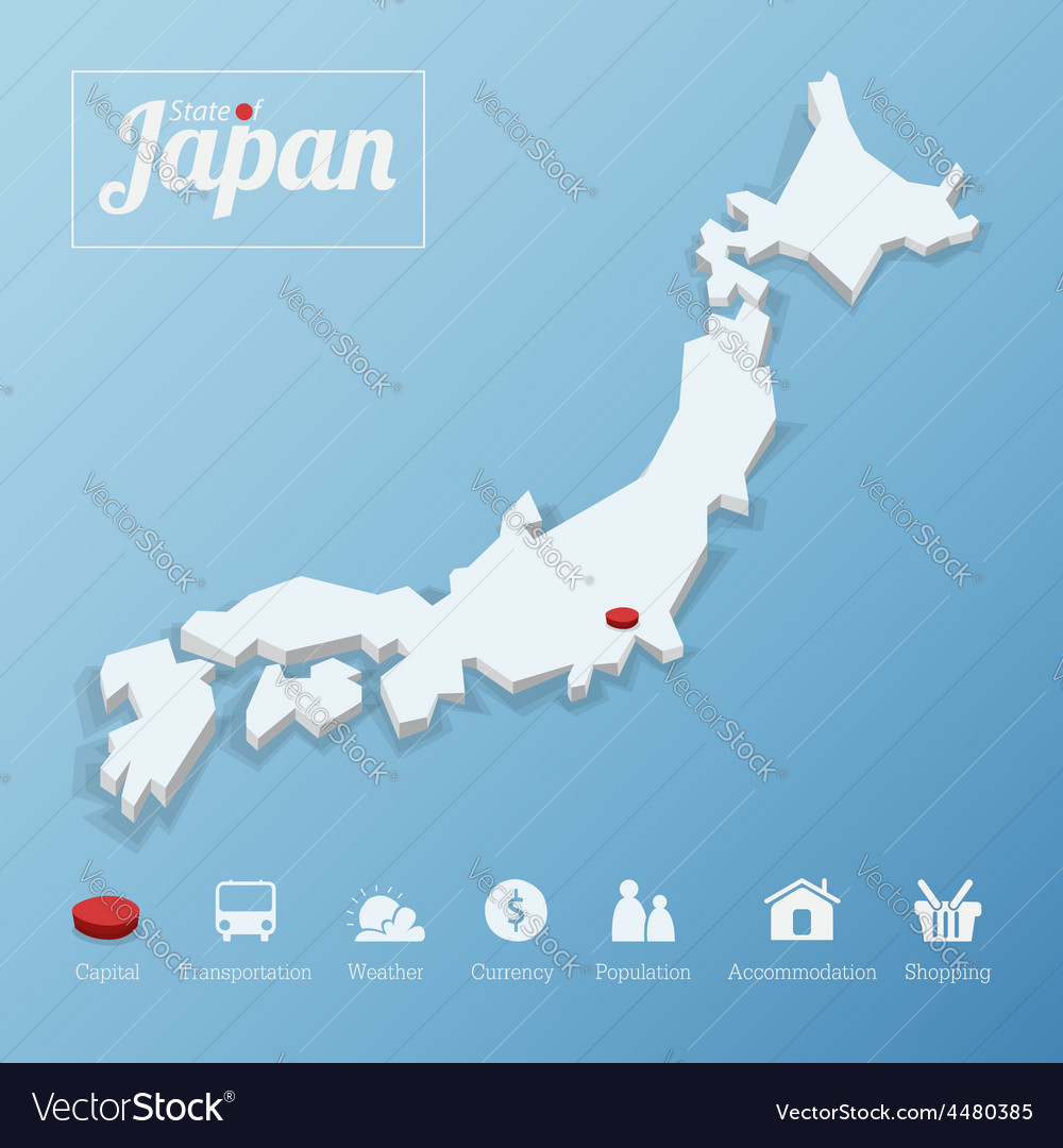 States of japan map vector | Price: 1 Credit (USD $1)
