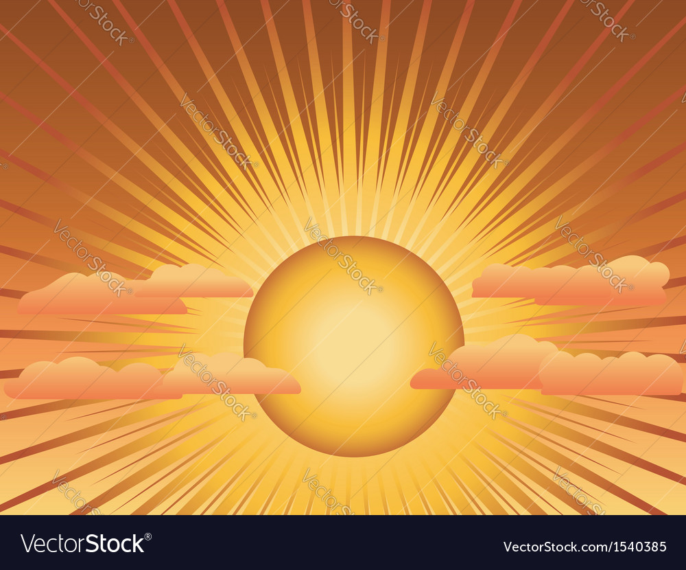 Sun with rays and clouds vector | Price: 1 Credit (USD $1)