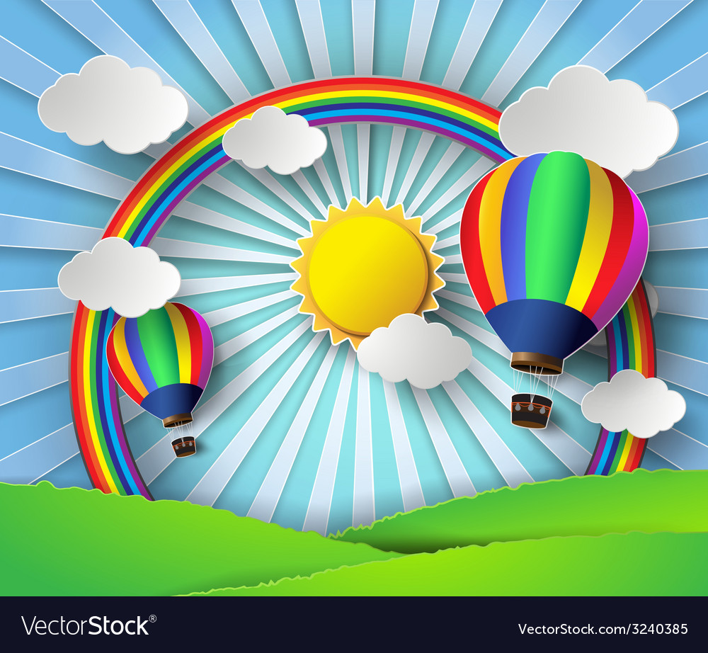 Sunlight on cloud with hot air balloon vector | Price: 3 Credit (USD $3)