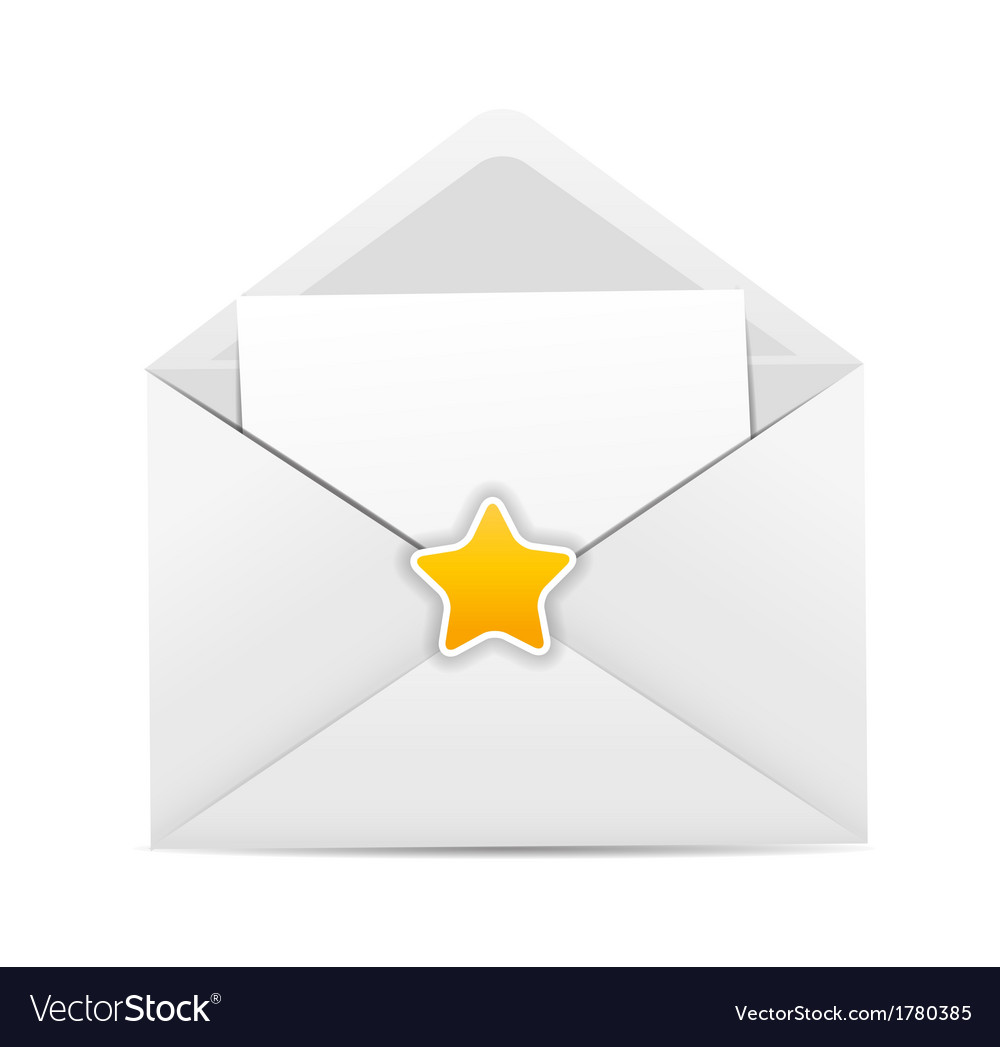 White envelope icon with star vector | Price: 1 Credit (USD $1)