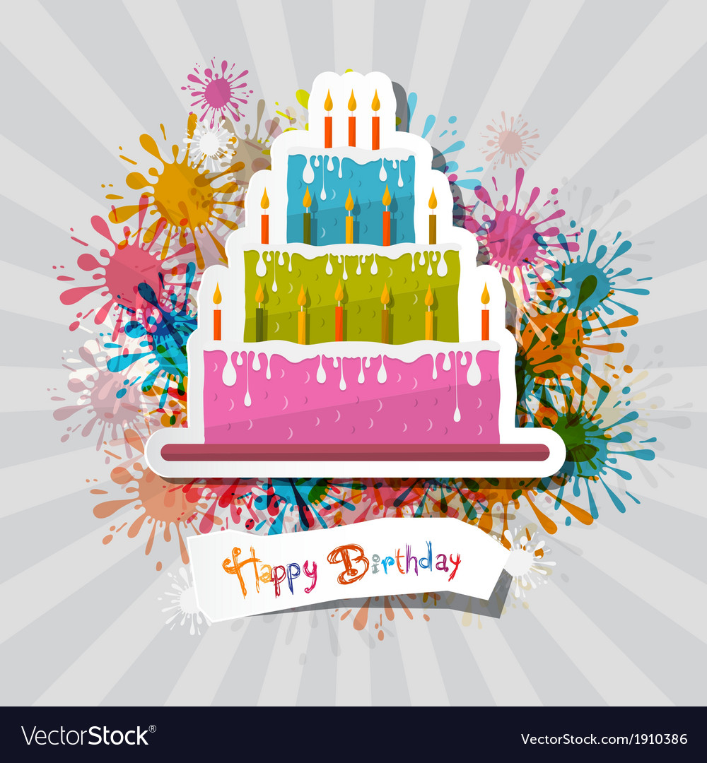 Birthday background with cake vector | Price: 1 Credit (USD $1)
