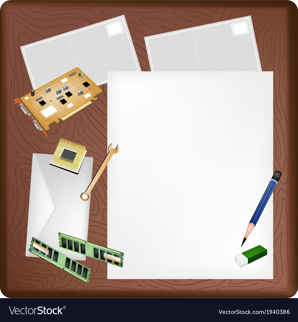Computer equipment on a blank page and envelope vector   Price: 1 Credit (USD $1)