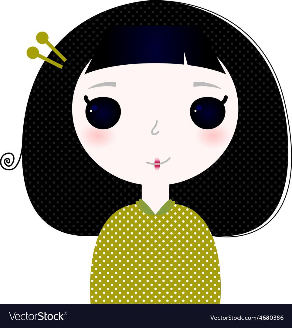 Cute beautiful little japanese cartoon girl vector