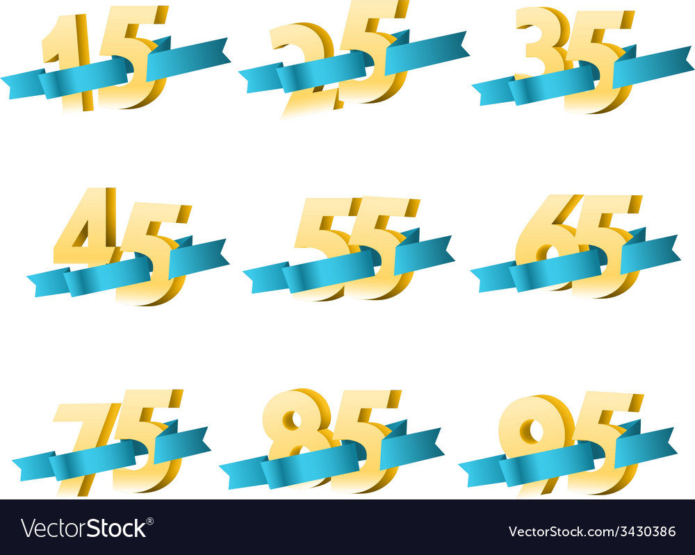 Different digits with ribbons sale banner template vector | Price: 1 Credit (USD $1)