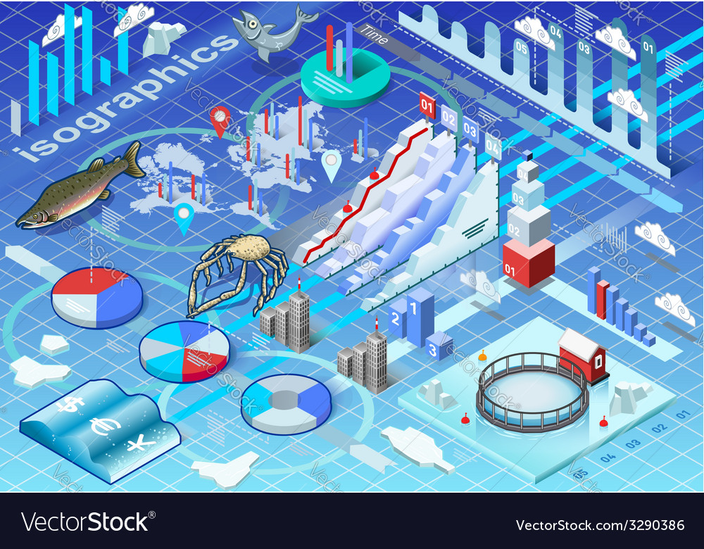 Isometric infographic ice fishing set vector | Price: 3 Credit (USD $3)